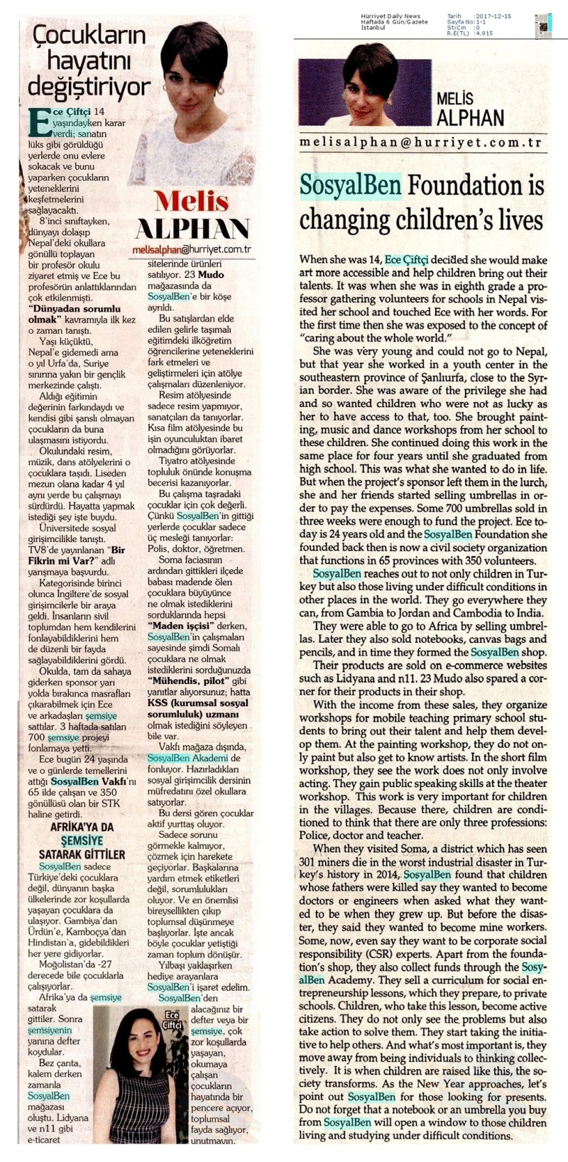 Hürriyet Daily News Küpür - Melis